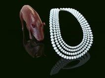 Cast pearls before swine 3d rendering. Throwing pearls before swine 3d rendering Stock Photos