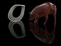 Cast pearls before swine 3d rendering. Throwing pearls before swine 3d rendering Stock Image