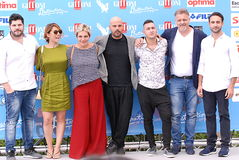 Cast TV Series Gomorra at Giffoni Film Festival 2016. Giffoni Valle Piana, Sa, Italy - July 17, 2016 : Cast TV Series Gomorra at Giffoni Film Festival 2016 - on Stock Photos