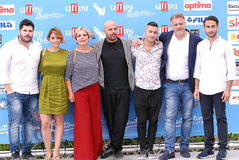Cast TV Series Gomorra at Giffoni Film Festival 2016. Giffoni Valle Piana, Sa, Italy - July 17, 2016 : Cast TV Series Gomorra at Giffoni Film Festival 2016 - on Stock Image