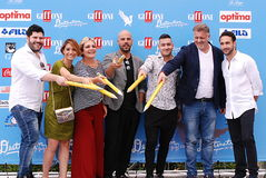 Cast TV Series Gomorra at Giffoni Film Festival 2016. Giffoni Valle Piana, Sa, Italy - July 17, 2016 : Cast TV Series Gomorra at Giffoni Film Festival 2016 - on Stock Photo
