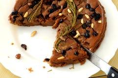 Castagnaccio, bolo típico feito em Itália no outono Fotos de Stock Royalty Free