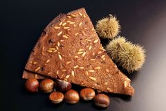 Castagnaccio - chestnuts cake royalty free stock photos