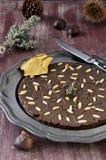 Castagnaccio. Włoski deser. Zdjęcie Stock