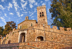 Castagneto Carducci, Leghorn, Tuscany, Italy: ancient church of. San Lorenzo in the old town of the village where he lived the italian poet Giosue Carducci Stock Image