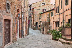 Castagneto Carducci, Leghorn, Tuscany, Italy. Ancient street in the old town of Castagneto Carducci, the village where he lived the poet Giosue Carducci Stock Photography