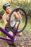 Castana atletico controllando il suo mountain bike Fotografia Stock