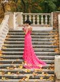 Castana splendido in vestito spettacolare che va sulla scala Fotografia Stock Libera da Diritti