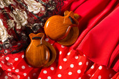 Castanets fan and flamenco comb typical from Spain Royalty Free Stock Image