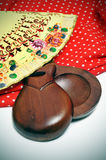 Castanets, fan and flamenco dress Royalty Free Stock Photography