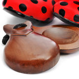 Castanets and typical dot-patterned flamenco shoes Stock Image
