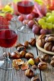 Castanhas e vinho Fotos de Stock Royalty Free