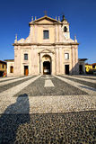 In  the castano primo  old   church  closed brick tower Stock Images