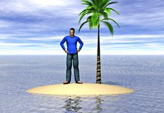 Castaway. A lone man on an island. Image depicting the concepts of isolation and loneliness Royalty Free Stock Photo