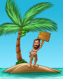 Castaway. With a big beard holding a wood plank vector illustration