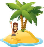 Castaway on a deser island. Desert Island With Palm Trees and Shipwrecked Man. With star shape shape  illustration cartoon Royalty Free Stock Photography