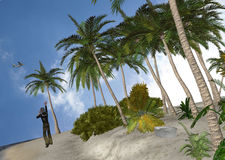 Castaway On A Deserted Island Illustration Royalty Free Stock Images