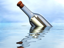 Castaway message. Message in a bottle in the open ocean Stock Images