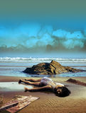 Castaway. Woman castaway on a beach with wooden pieces of a boat, close to her Royalty Free Stock Image