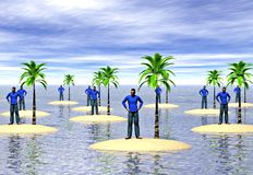 Castaways. A group of men on desert islands. Image depicting the concepts of isolation and loneliness Stock Images