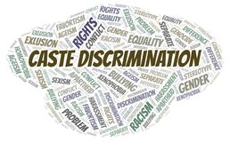 Caste Discrimination - type of discrimination - word cloud. Wordcloud made with text only vector illustration
