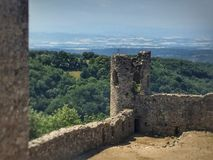 Italian mideval Caste ruins overlooking countryside. Castle ruins in Italy Royalty Free Stock Photos