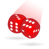 Casted dices isolated. Two dices casted on blank table during a match Stock Photography