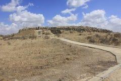 Castel和堡垒古老圣经的市的Lachish,今天Tel Lachish 免版税库存照片