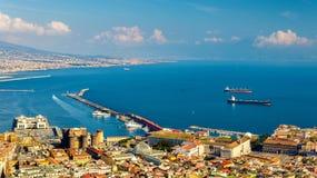 从Castel看见的那不勒斯海湾Sant'Elmo 免版税图库摄影