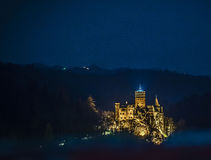 Castel bran night. Romania castel bran night light Stock Photography