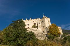 Castel Coira. Castle on the hill landscape. Schluderns, Vinschgau Valley, Alto Adige, Italy stock image