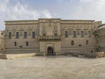 Castel corigliano otranto,front view,. The castle of corigliano di otranto is the only baroque castle of the world Royalty Free Stock Photos