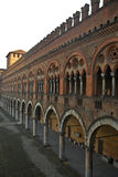 Castel court. Detail of the Castel of Visconti in Pavia stock image