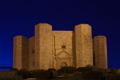 Castel del monte at night famous castle built  by Frederik II Apulia Royalty Free Stock Photos
