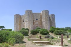 Apulia, italy: Castel del Monte. Castel del Monte, the famous castle built using an octagonal shape by the Holy Roman Emperor Frederick II in the 13th century in stock image