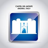 Castel del monte icon. Italy culture design. Vector graphic. Italy culture concept represented by castel del monte icon. Colorfull and flat illustration Royalty Free Stock Photography