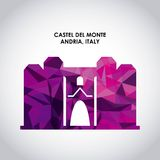 Castel del monte icon. Italy culture design. Vector graphic. Italy culture concept represented by castel del monte icon. Colorfull and Polygonal illustration Royalty Free Stock Photos