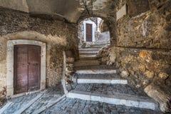 Castel del Monte L `-Aquila landskap, Abruzzo Italien Fotografering för Bildbyråer