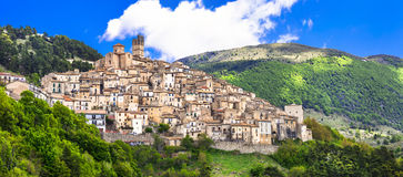 Castel del Monte. Pictorial hilltop village in Abruzzo, Italy Royalty Free Stock Images