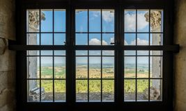 Window in Castel del Monte, famous medieval fortress in Apulia, southern Italy. Royalty Free Stock Images
