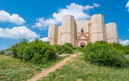 Castel del Monte, famous medieval fortress in Apulia, southern Italy. Castel del Monte is a 13th-century citadel and castle situated on a hill in Andria in the royalty free stock image