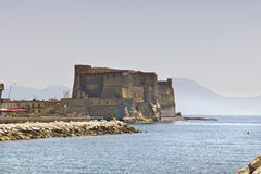 Castel dell'Ovo, a medieval fortress in the bay of Naples, Italy Stock Photos