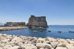 Castel dell'Ovo, a medieval fortress in the bay of Naples, Italy Stock Images