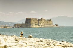 Castel dell'Ovo, a medieval fortress in the bay of Naples, Italy Stock Photo