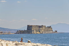 Castel dell'Ovo, a medieval fortress in the bay of Naples, Italy Royalty Free Stock Images