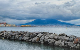 Castel dell'ovo, naples cityscape and Vesuvius Stock Photo