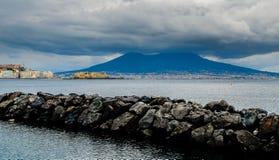 Castel dell'ovo, Naples cityscape and Vesuvius Stock Photography