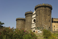 Castel dell'Ovo, Naples, through green Royalty Free Stock Images