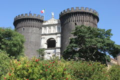 Castel dell'Ovo, Naples, through green Royalty Free Stock Photography