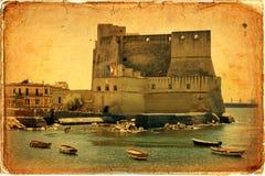 Castel dell'Ovo, Naples, Italien Fotografering för Bildbyråer